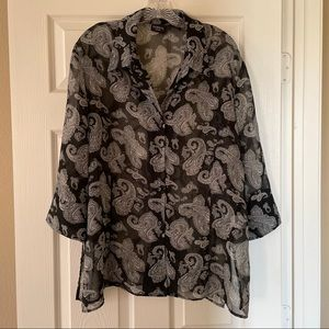 Sheer George button down blouse size 22/24